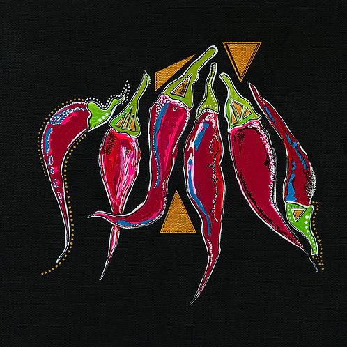 Dancing Chilis Print