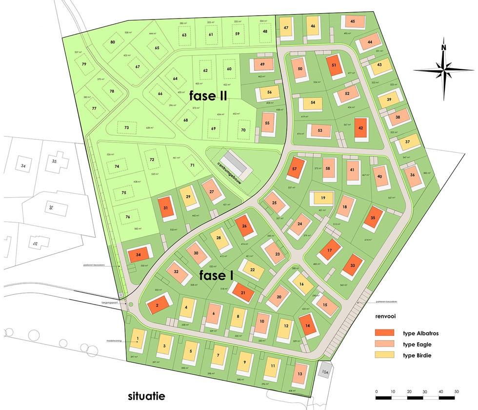 Overzicht van de woningen bij de Golfbaan op landgoed Bergvliet