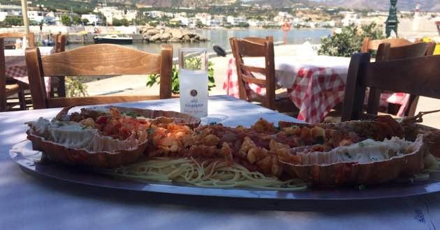 Cretan lobster with Spaghetti.