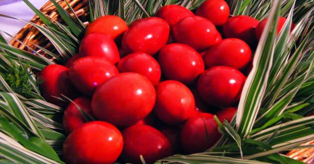 Red Greek Easter Eggs.