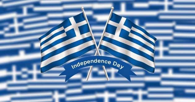 Greek independence day and Greek flag.