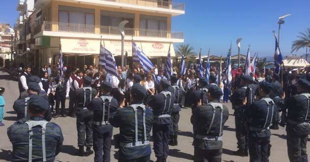 Sitia in East Crete, street parade on March 25th, 2017.