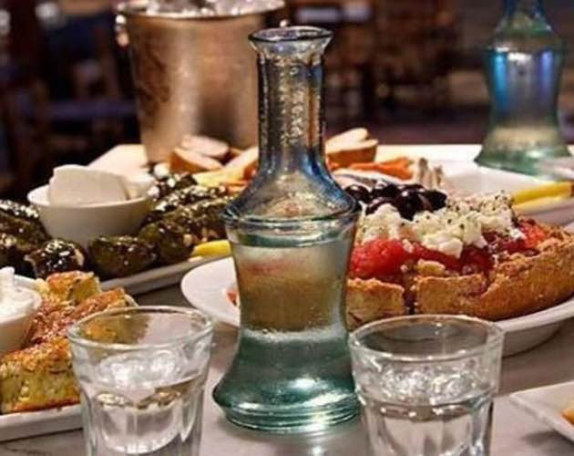 Raki with mezes in East Crete.
