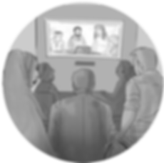 A light grey circle-shaped icon featuring a group of people gathered around a movie screen. On the screen is the same group of people featured in the banner image, working at a table.
