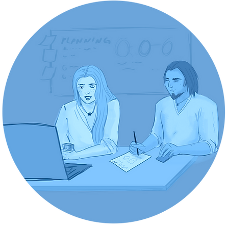 "A light blue circle-shaped icon featuring two people working on a laptop. The word ""Planning"" are visible on a sideboard."