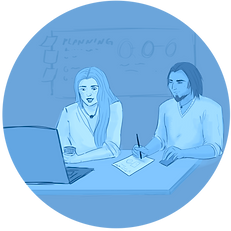 """A light blue circle-shaped icon featuring two people working on a laptop. The word """"Planning"""" are visible on a sideboard."""