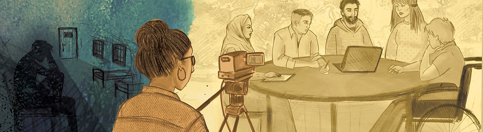 An illustrated banner image. In the foreground, a group of people are gathered at a table having a discussion. One man has a laptop open and another is writing something. They are being filmed by a woman with a video camera. In the background, a man is seated on a small bed and is holding his head in his hands. He is in a room with barred windows. Other rows of beds are visible.