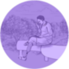 A light purple circle-shaped icon featuring a woman sitting on a bench outside. She is making a phone call.