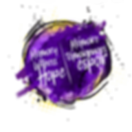 "A logo in the shape of a messy circle made up of various shades of purple paint strokes, with some yellow and black contour. Overtop in white words are ""Memory Witness and Hope 