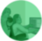 "A light green circle-shaped icon featuring two people working on a computer. The word ""Blog"" is displayed on the monitor."