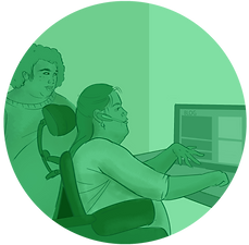 """A light green circle-shaped icon featuring two people working on a computer. The word """"Blog"""" is displayed on the monitor."""
