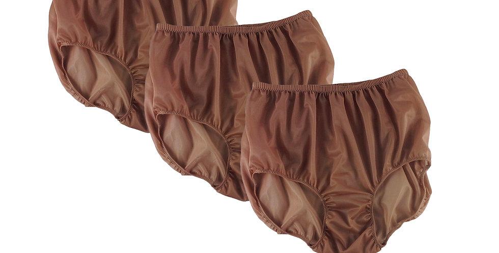 BB16 Tan Brown Lots 3 pcs Wholesale Women New Panties Granny Briefs Nylon