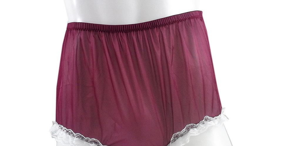 NH02D16 Deep Red Handmade Panties Lace Women Men Briefs Nylon Knickers Und