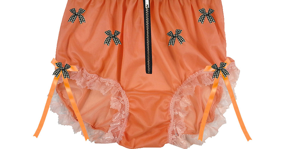 NNH20D04 Orange Zipper Handmade Panties Lace Women Men Briefs Nylon Knickers