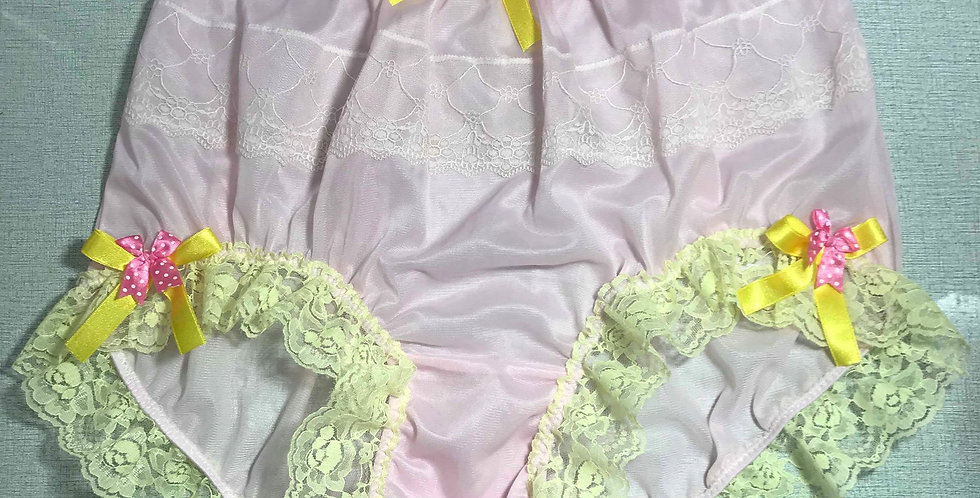 New Pink Nylon Panties Briefs Men Knickers Handmade Floral Ribbon Lacy JYH18DS01