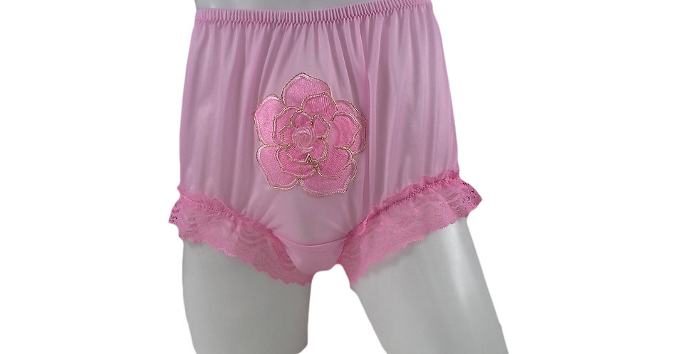 Pink Sew on flower Patch Embroidered Panties Briefs Nylon Handmade