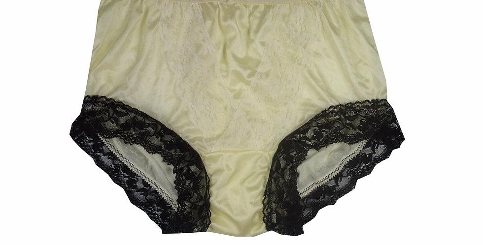NLH07D14 Fair Yellow Panties Granny Lace Briefs Nylon Handmade  Men Woman