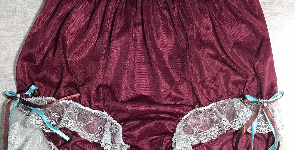 Deep Red Ribbon Lacy Nylon Brief & High Cut Panties Knickers Men Handmade RTN34