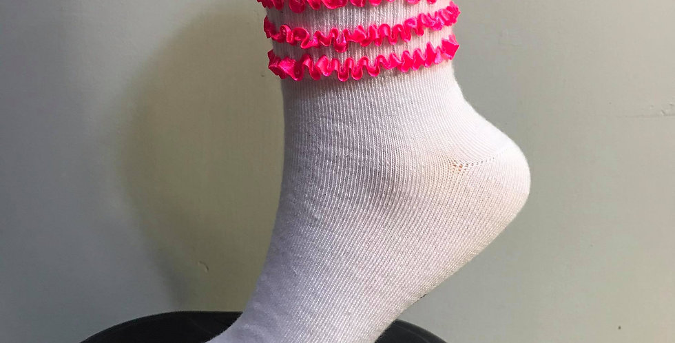 New White Socks Ruffle Firlly Pink Lacy Handmade Nylon Men Adult Ankle STL03