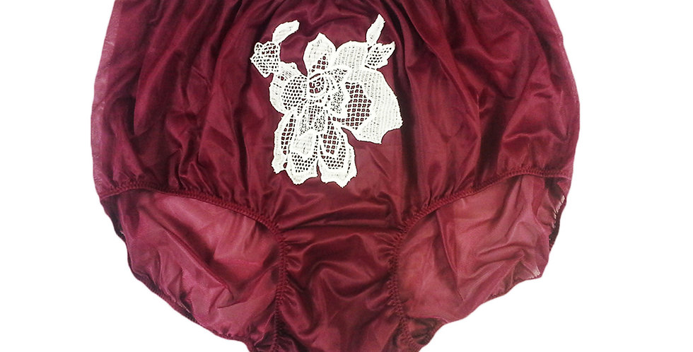 Deep Red Sew on Flower Patch Embroidered Panties Briefs Nylon Handmade