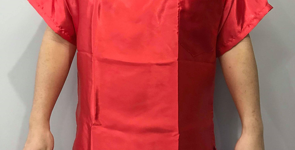 New Sissy Sexy Red Shiny Satin Shirt Clothes Casual Men Gay Male Party STS15