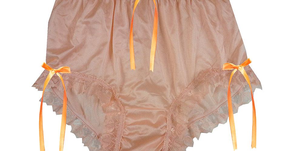 NYH18D10 Orange Handmade New Panties Briefs Lace Sheer Nylon Men Women