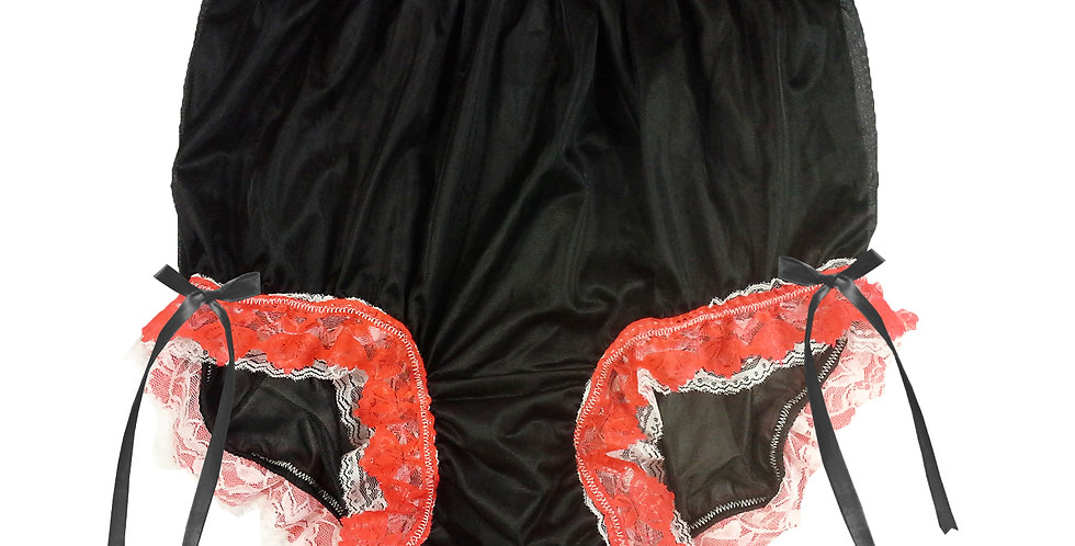 NNH21D12 Black Handmade Panties Lace Women Men Briefs Nylon Knickers