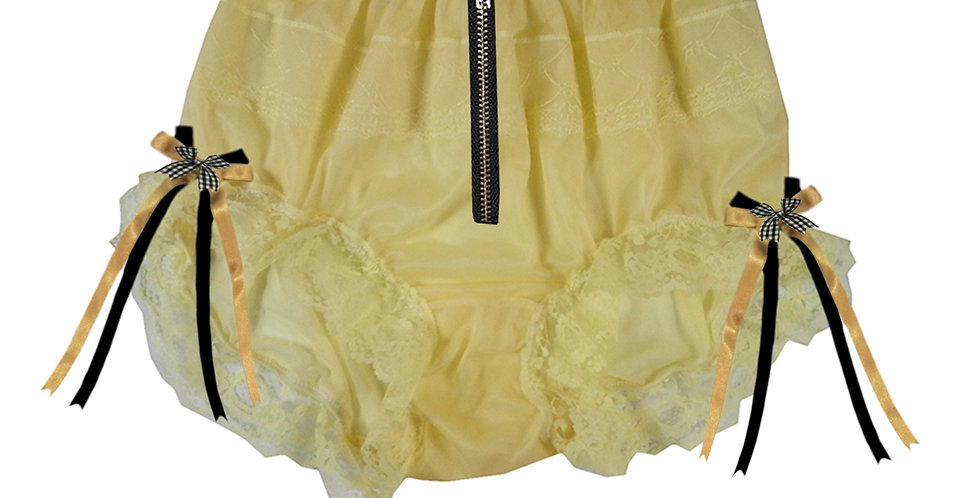 Yellow Sheer Soft Nylon Frilly Lace Briefs Panties Men Knickers Zip Open Crotch