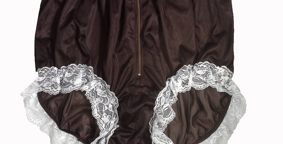 NNH09D08 Tan Brown Handmade Panties Lace Women Men Briefs Nylon Knickers