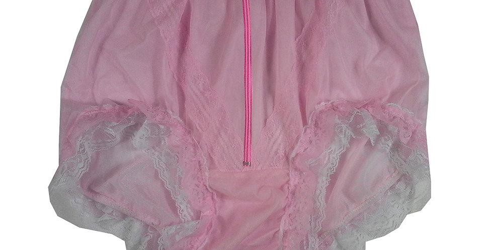 SSH23DP08 Pink Zipper Handmade Nylon Panties Lace Women Granny Men Briefs