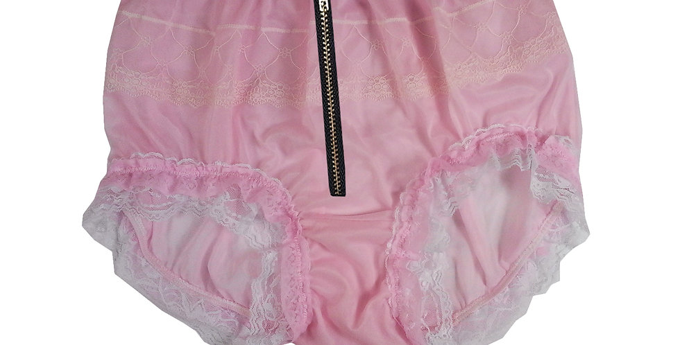 Pink Sheer Soft Nylon Frilly Lace Briefs Panties Men Knickers Zip Open Crotch