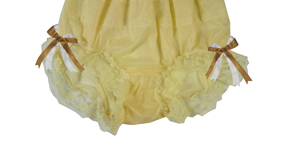 JYH17D06 Yellow Handmade Nylon Panties Women Men Lace Knickers Briefs