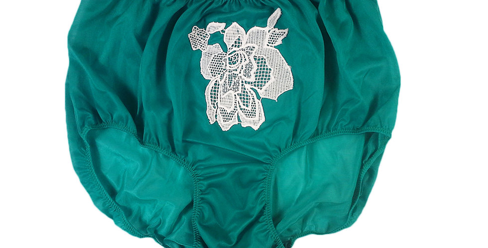 Green Sew on Flower Patch Embroidered Panties Briefs Nylon Handmade