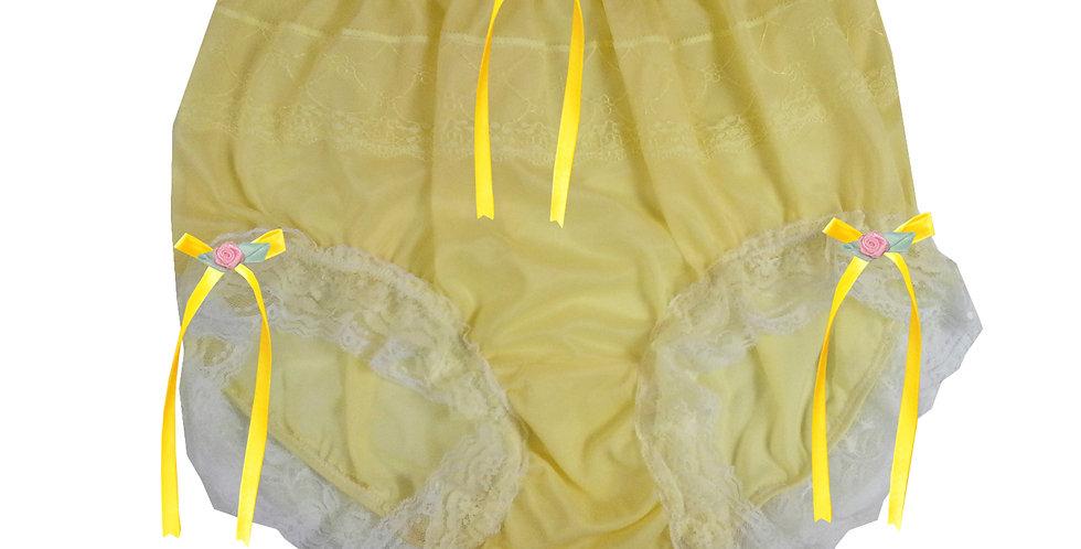 JYH22D35 Yellow Handmade Nylon Panties Women Men Lace Knickers Briefs