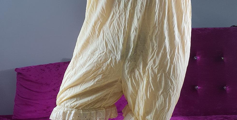 New Yellow Cotton Slips Pettipants Underpants Sleepwear Handmade Men CSLH03