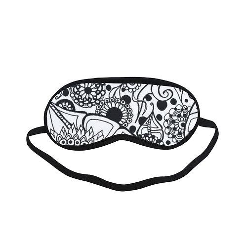 PTEM166 Abstract Art Black and White Eye Printed Sleeping Mask