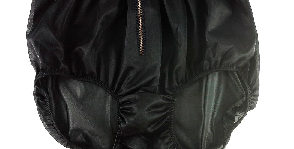 NNH03I01 BLACK Zipper Handmade Panties Lace Women Men Briefs Nylon Knickers