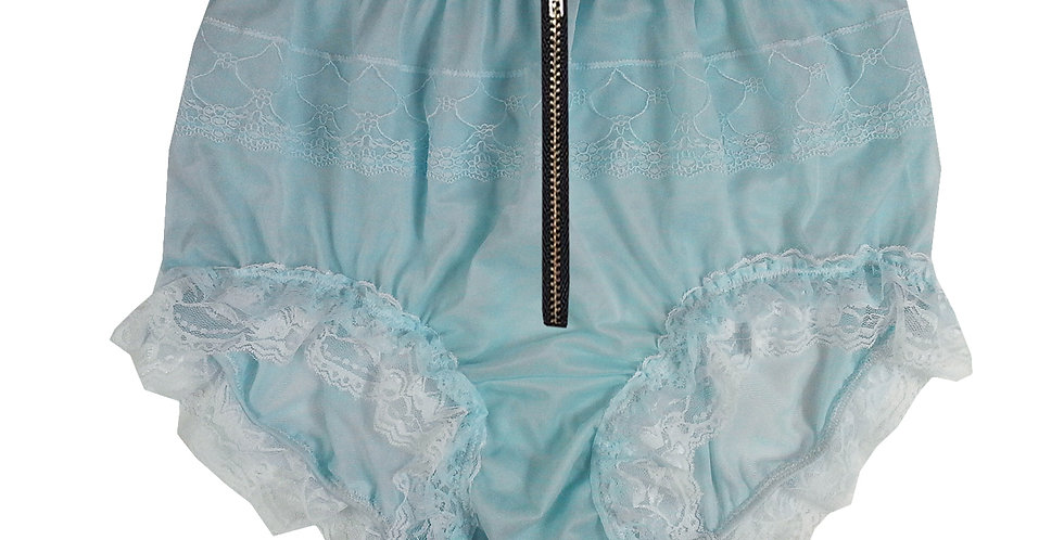 Adult baby Blue Nylon Brief & High Cut Panties Handmade Knickers Panty Zipper