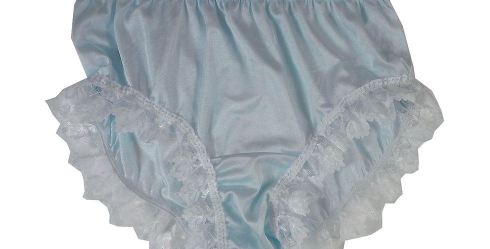 CKH24D03 Blue Silky New Nylon Panties Handmade Lace Floral Women Knicker