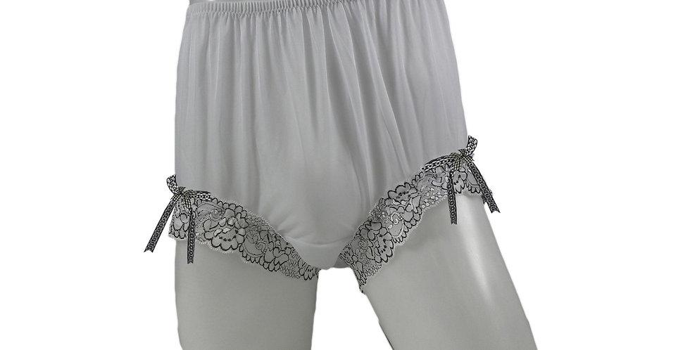 New White Panty Nylon Brief Vintage Shimmery Handmade Men Ribbon Lacy NNH17R02