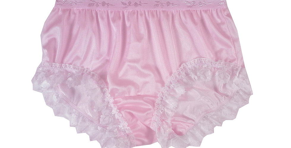 CKH24D02 Pink Silky New Nylon Panties Handmade Lace Floral Women Knicker