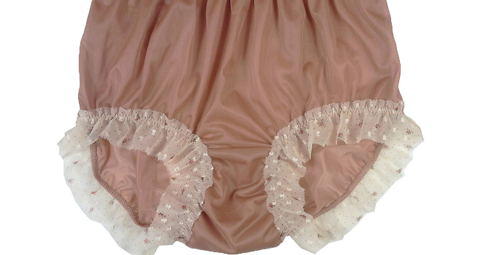 New Fair brown Nylon PlusSize Panties Knickers Briefs Men Handmade Lacy NNH27C02