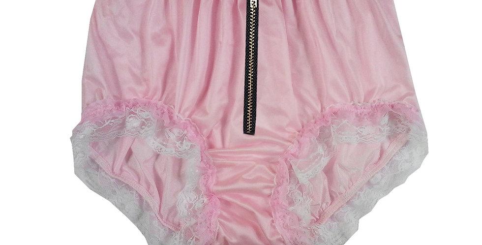 NQH23DI02 Pink Zipper New Panties Granny Briefs Nylon Handmade Lace Men