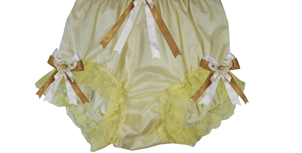 NQH18D01 Yellow New Panties Granny Briefs Nylon Handmade Lace Men