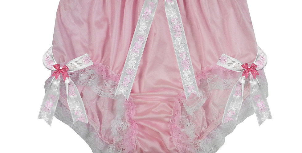 NQH22D12 Pink New Panties Granny Briefs Nylon Handmade Lace Men