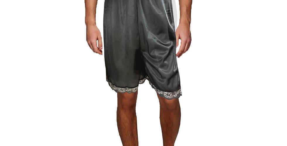 PTM01 black Silky Nylon Pettipants Women Men Slips Lace Underwear