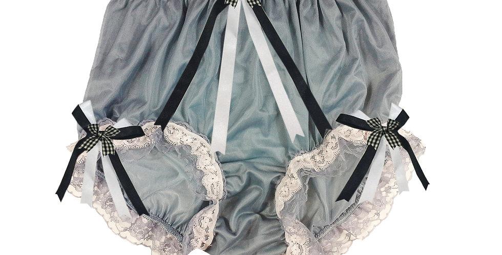 NNH22D20 Gray Grey Handmade Panties Lace Women Men Briefs Nylon Knickers