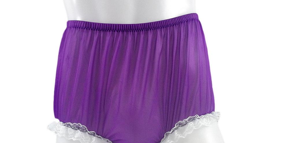 NH02D08 Light Purple Handmade Panties Lace Women Men Briefs Nylon Knickers Und