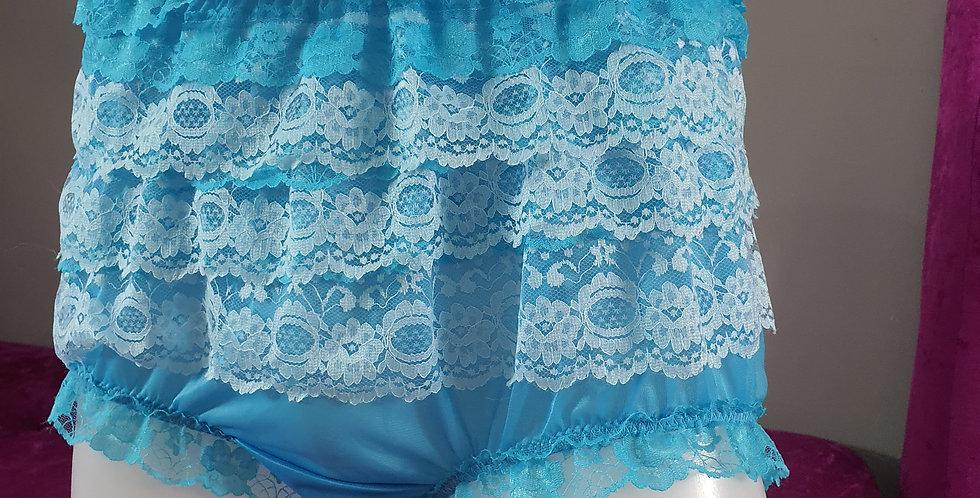 Light Blue nylon underwear for men Panties Ruffle Briefs Lacy Handmade RNOS25