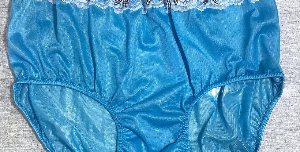 Light Blue Vintage Nylon Briefs Panel Lace Panties Ribbon Men Handmade NRLP16